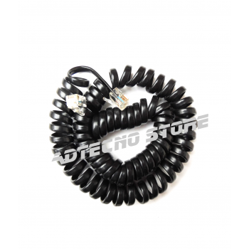Cordone telefonico spiralato nero 4 poli
