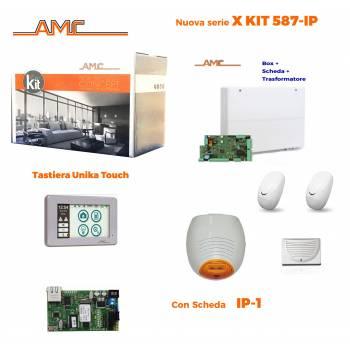 AMC Kit 587 Centrale 8/24 zone con Tastiera Unika e modulo IP