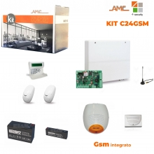 AMC KIT Completo Centrale C24GSM PLUS + K-LCD Voice + Sensori, Sirene e batterie
