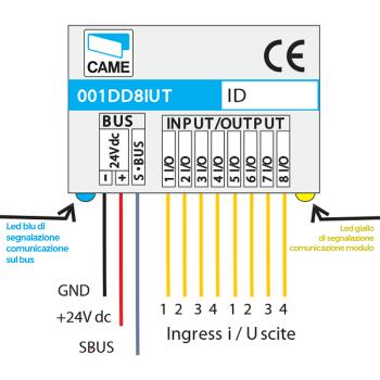 CAME 001DD8IUT Modulo 8 porte programmabili In o Out digitali