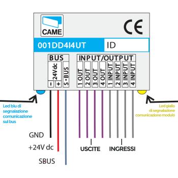 Came hei bus Modulo domotico 4 ingressi 4 uscite open collector - CAME 001DD4I4UT