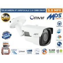 Telecamera IP 5.0 MPX Megapixel Videoanalisi Varifocal 2,8-12mm ONVIF IR SMD - POE
